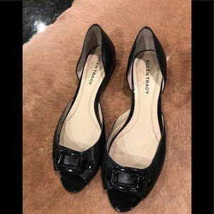 Ellen Tracy Ally Peep Toe Flats Black Size 9M